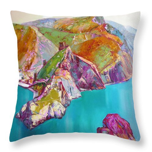Ignatenko Throw Pillow featuring the painting Entry To Balaklaw by Sergey Ignatenko