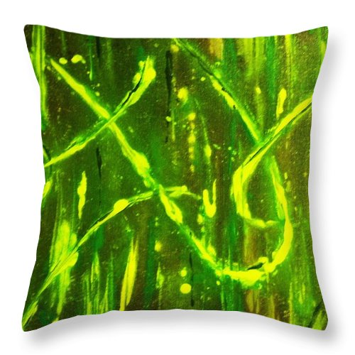Abstract Throw Pillow featuring the painting Envy by Todd Hoover