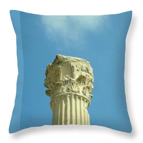 Column Throw Pillow featuring the photograph Ephesian Column by Jennifer Kelly