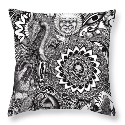 Black And White Throw Pillow featuring the drawing Epiphany by Tobey Anderson