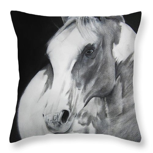 Horse Throw Pillow featuring the drawing Equestrian Beauty by Carrie Jackson