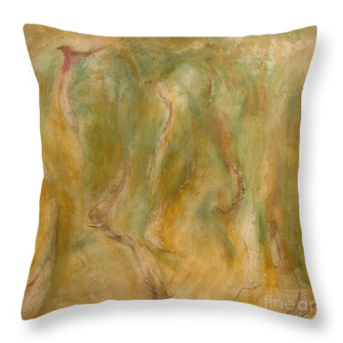Abstract Throw Pillow featuring the painting Equos by Laura Warburton