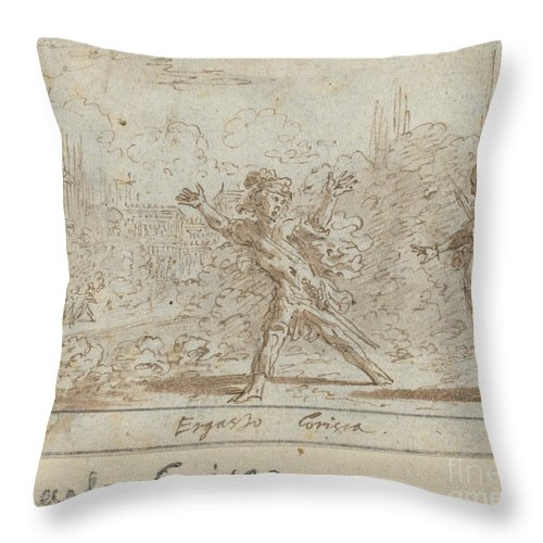 Throw Pillow featuring the drawing Ergasto And Corisca by Johann Wilhelm Baur