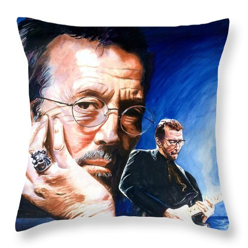 Musicians Throw Pillow featuring the painting Eric Clapton Blues Lake by Ken Meyer jr