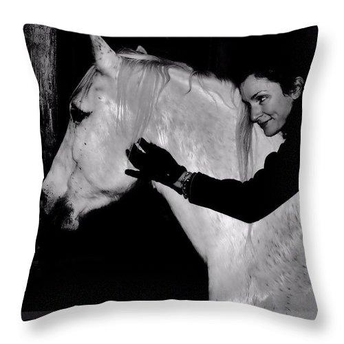 White Horse Throw Pillow featuring the digital art Erin and Mikey by Dawn Johansen
