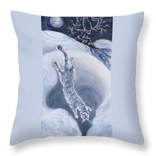 Animal Throw Pillow featuring the painting Ermine Diving Into Drift From River Mural by Dawn Senior-Trask