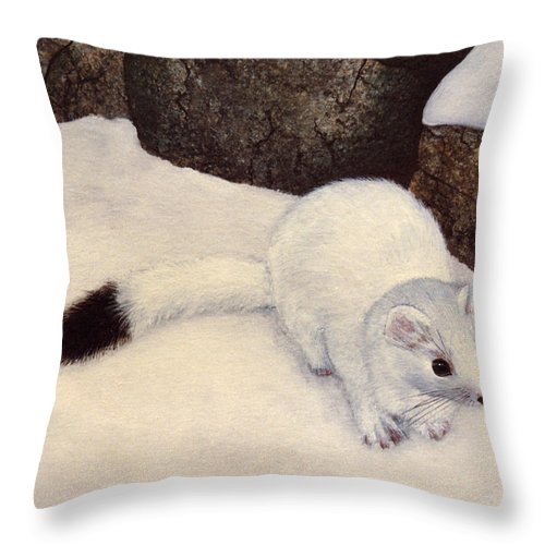 Wildlife Throw Pillow featuring the painting Ermine In Winter by Frank Wilson