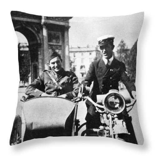 1918 Throw Pillow featuring the photograph Ernest Hemingway (1899-1961) by Granger