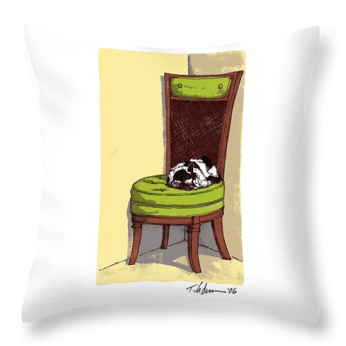 Cat Throw Pillow featuring the drawing Ernie And Green Chair by Tobey Anderson