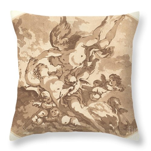 Throw Pillow featuring the drawing Eros And Psyche by Jean-claude-richard, Abb? De Saint-non After Fran?ois Boucher