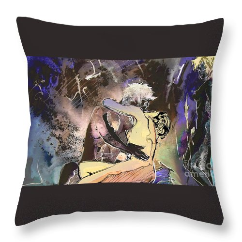 Miki Throw Pillow featuring the painting Eroscape 09 2 by Miki De Goodaboom