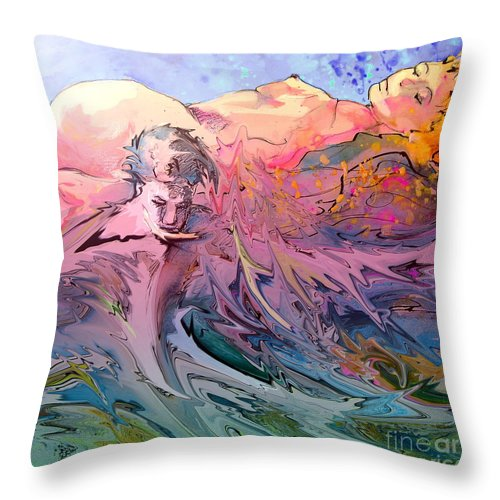 Miki Throw Pillow featuring the painting Eroscape 10 by Miki De Goodaboom