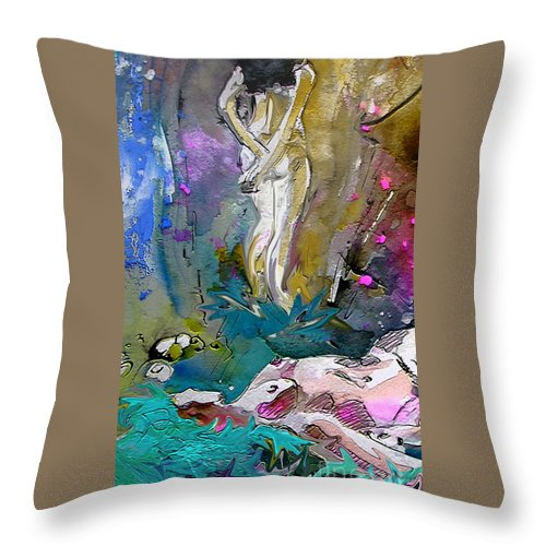 Miki Throw Pillow featuring the painting Eroscape 1104 by Miki De Goodaboom