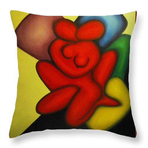 Cubism Throw Pillow featuring the painting Erotic Embrace by Vasilis Bottas
