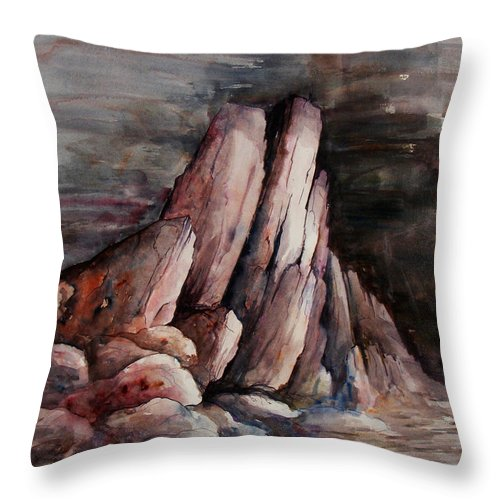 Landscape Throw Pillow featuring the painting Eruption by Rachel Christine Nowicki