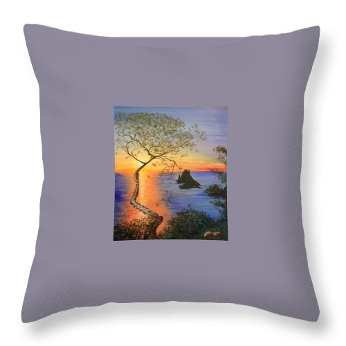 Sunset Throw Pillow featuring the painting Es Vedra Island Off Ibiza South Coast by Lizzy Forrester