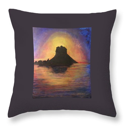 Sunset Throw Pillow featuring the painting Es Vedra Sunset I by Lizzy Forrester