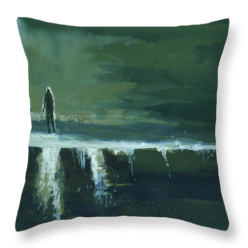 Jump Throw Pillow featuring the painting Escape by Anil Nene