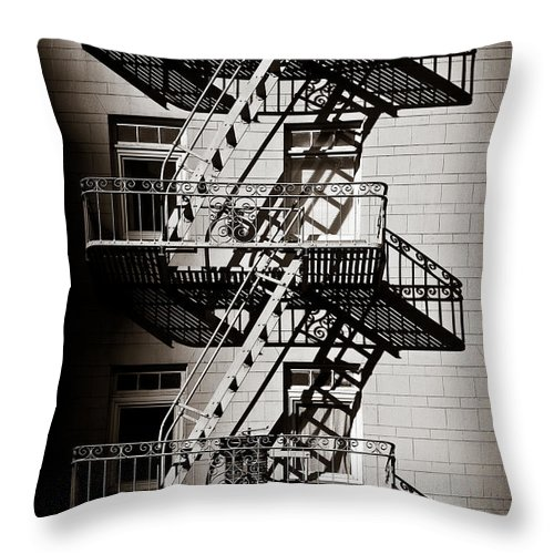 Fire Escape Throw Pillow featuring the photograph Escape by Dave Bowman