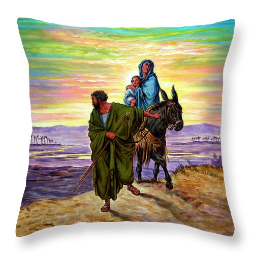 Jesus Throw Pillow featuring the painting Escape Into Egypt by John Lautermilch