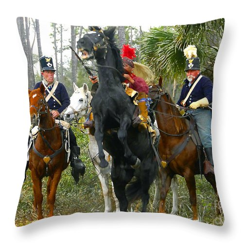 Seminole Indians Throw Pillow featuring the photograph Escape Of Billy Bowlegs by David Lee Thompson