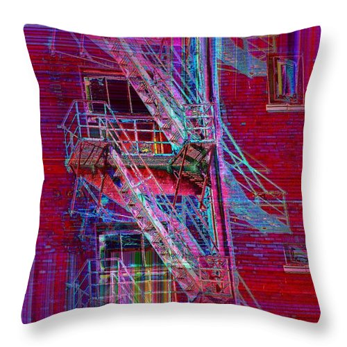 Fire Escape Throw Pillow featuring the photograph Escape Route by Tim Allen