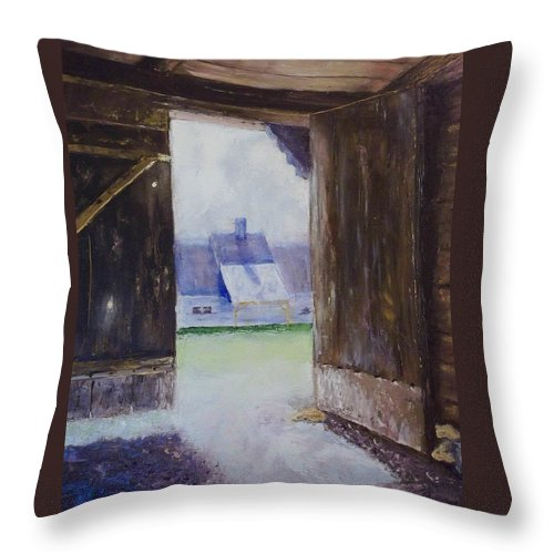 Shed Throw Pillow featuring the painting Escape The Sun by Stephen King