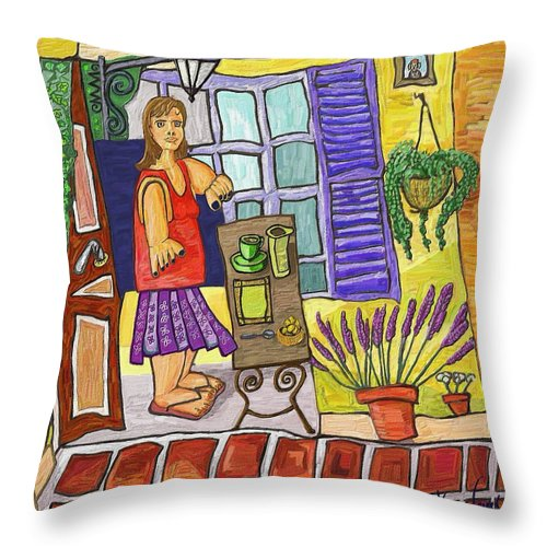 Still Life Throw Pillow featuring the painting Esmorzant En Provence by Xavier Ferrer