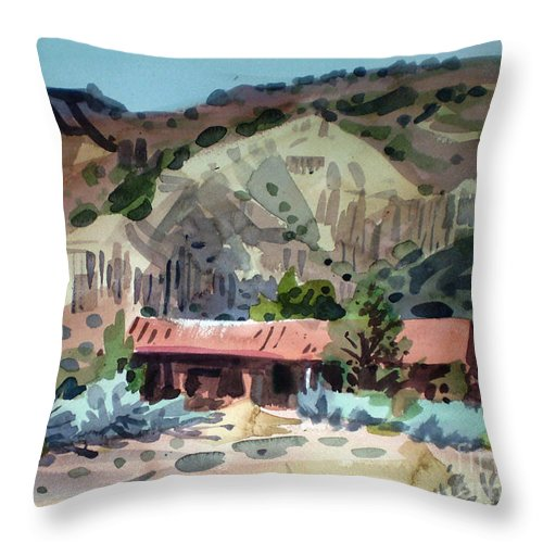 New Mexico Throw Pillow featuring the painting Espanola On The Rio Grande by Donald Maier