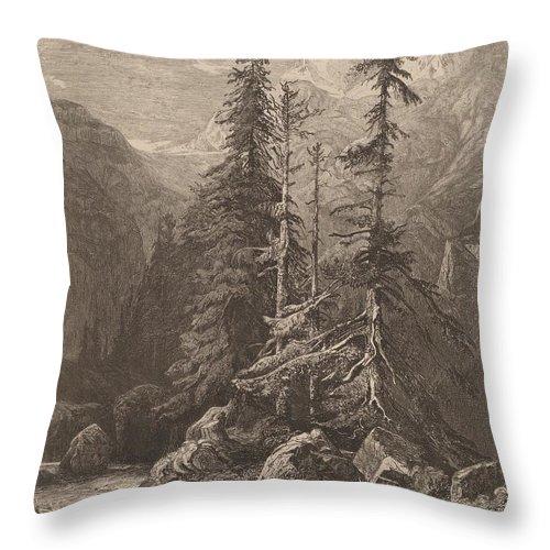 Throw Pillow featuring the drawing Essais De Gravure ? L'eau Forte Par Alexandre Calame, I, Pl. 21 by Alexandre Calame