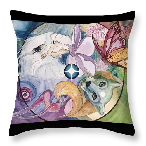 Wildlife Throw Pillow featuring the painting Essence Wheel by Kimberly Kirk
