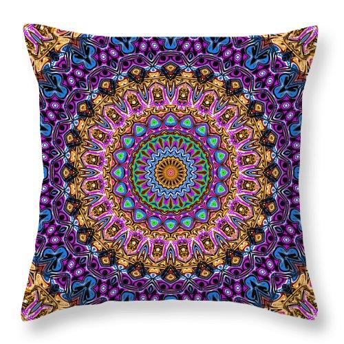 Digital Throw Pillow featuring the digital art Estate Jewels Mandala No. 2 by Joy McKenzie
