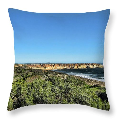 Coastline Throw Pillow featuring the photograph Etched Out Of Sandstone by Douglas Barnard