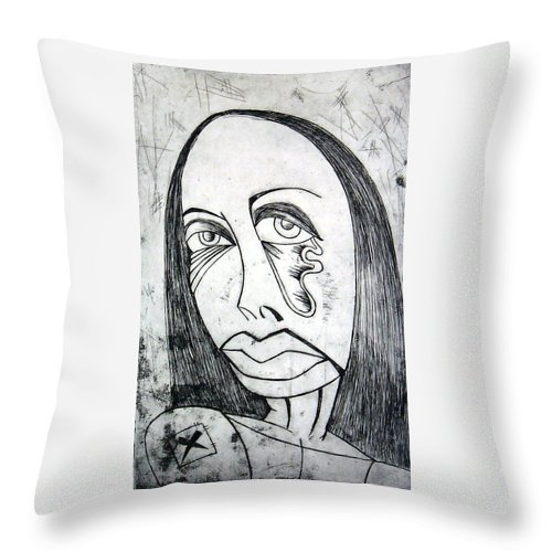 Girl Throw Pillow featuring the print Etching by Thomas Valentine