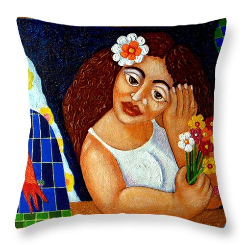 Eve Throw Pillow featuring the painting Eternal Eve - II by Madalena Lobao-Tello