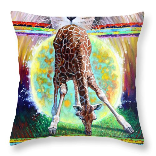 Lion Throw Pillow featuring the painting Eternal Nature of Our Universe by John Lautermilch
