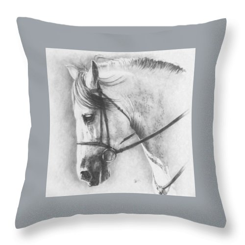 Horse Throw Pillow featuring the drawing Ethereal by Barbara Keith