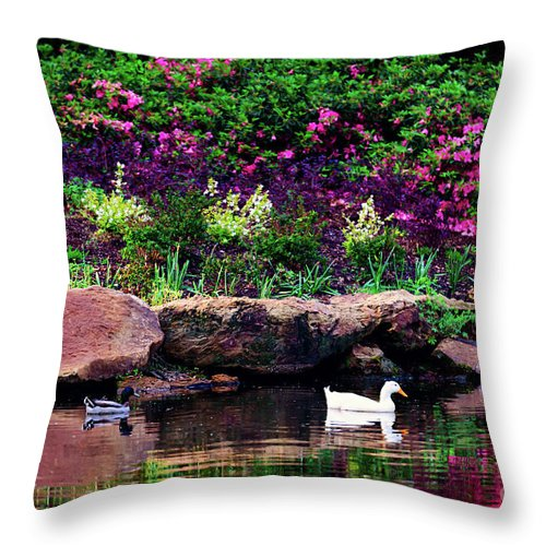 Tamyra Throw Pillow featuring the photograph Ethreal Beauty At The Azalea Pond by Tamyra Ayles