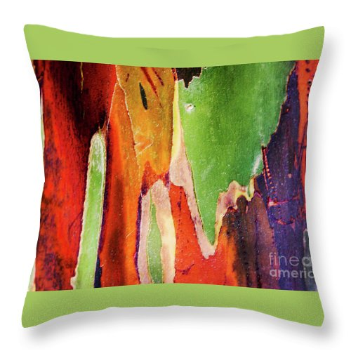 Abstract Throw Pillow featuring the photograph Eucalyptus Tree Bark Two by Raleigh Art Gallery