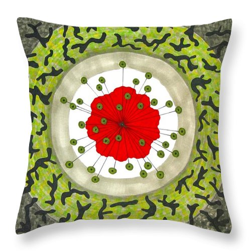 Poppy Throw Pillow featuring the painting Euphoric Shadows Transcending  by Minaz Jantz