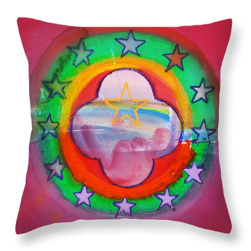 Symbol Throw Pillow featuring the painting Euro Fishing Boat by Charles Stuart