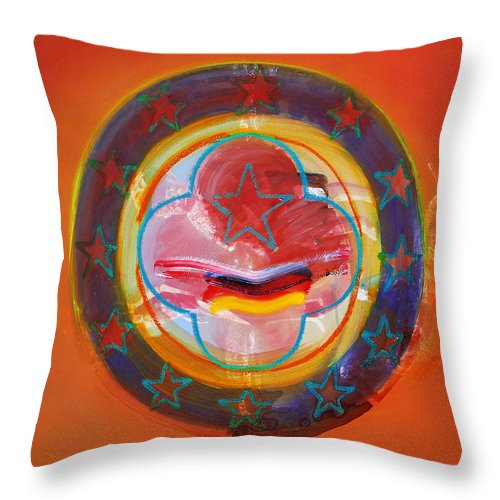 Symbol Throw Pillow featuring the painting Euro Smile by Charles Stuart