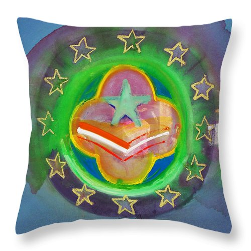 Symbol Throw Pillow featuring the painting Euro Star And Stripes by Charles Stuart