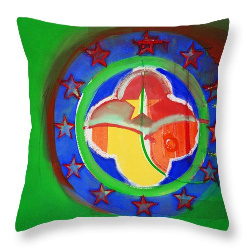 Symbol Throw Pillow featuring the painting Euromarine by Charles Stuart