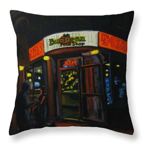 City Throw Pillow featuring the painting European Food Shop by John Malone