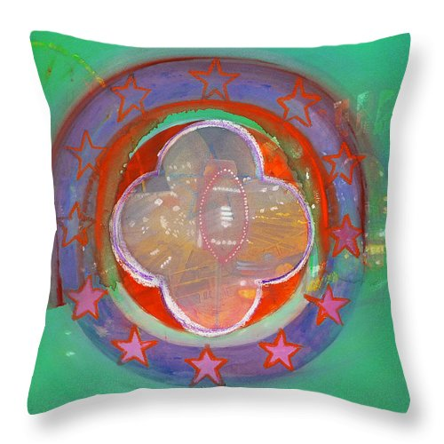 Symbol Throw Pillow featuring the painting European Merry-go-round by Charles Stuart