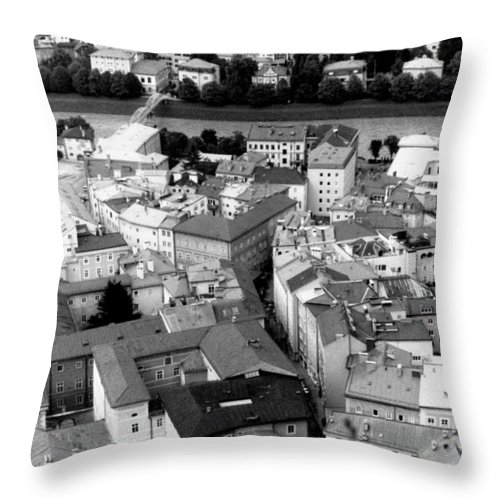 Rofftops Throw Pillow featuring the photograph European Rooftops by Michelle Calkins