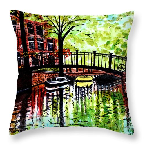 Landscape Throw Pillow featuring the painting European Travels by Elizabeth Robinette Tyndall