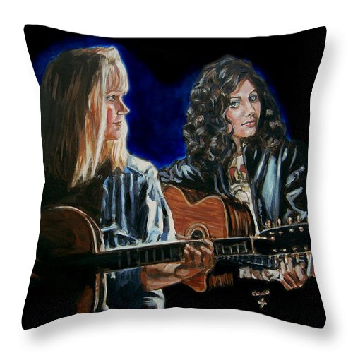 Katie Melua Throw Pillow featuring the painting Eva Cassidy And Katie Melua by Bryan Bustard
