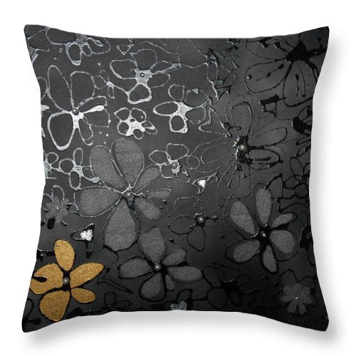 Black Flowers Throw Pillow featuring the painting Eva's Garden by Ines nanda Drole